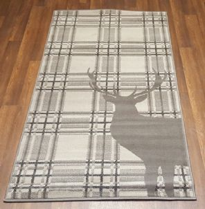 Modern Approx 5x2ft6 80cmx150cm Woven Top Quality Stag checks Dk Grey Rugs/Mats